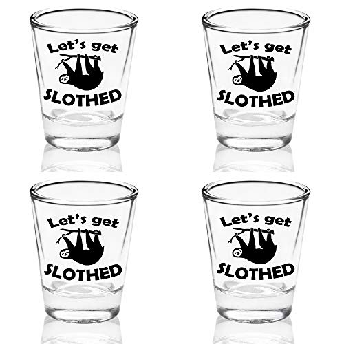 Set of 4 Funny Sloth Let's Get Slothed 1.75oz Shot Glass