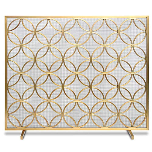 Pilgrim Home and Hearth Pilgrim Bedford Fireplace Screen 18311, Brushed Brass