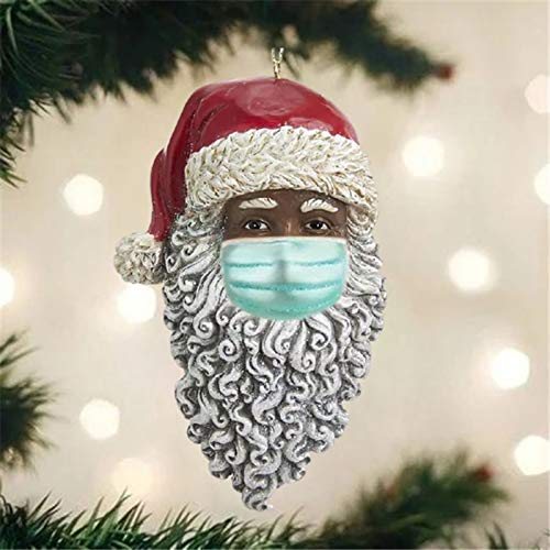 Celendi 2020 Santa Ornaments with Face Mask, Santa Claus Wearing Mask Christmas Ornaments, Christmas Keepsake Xmas Tree Decoration Hanging Pendant, Holiday Decor Creative Gifts (1PC)