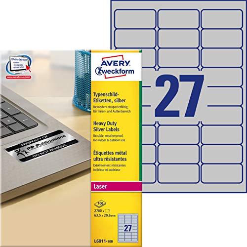 AVERY Zweckform L6011-100 Typenschild Folienetiketten 2.700 Aufkleber auf 100 Blatt silber, 99,1 x 67,7 mm