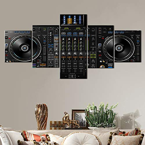Black and White Wall Art Audio Equipment Pictures 5 Piece Canvas Wall Art Turntables Paintings,Artwork Home Deco for Living Room Frame Gallery-wrapped Ready to Hang Posters and Prints(50''Wx24''H)