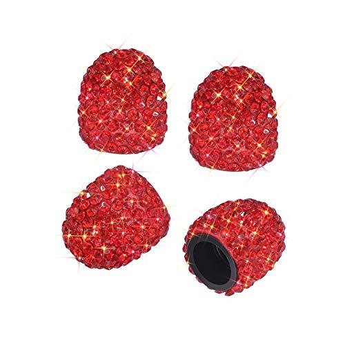 SAVORI Valve Stem Caps, 4 Pack Handmade Crystal Rhinestone Universal Car Tire Valve Caps Chrome,Attractive Dustproof Bling Car Accessories(Red)