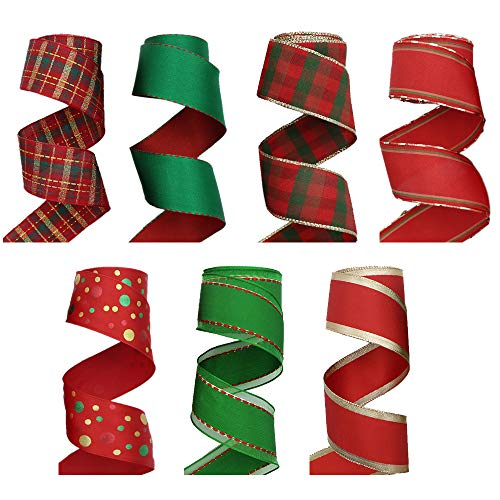 David accessories Christmas Wired Ribbon Red Green Color Wired Edge Holiday Ribbon Plaid Ribbon 35 Yards (1.6' Wide x 5 Yard Each) for Gift Wrapping Wreath Bows Making (Assorted)