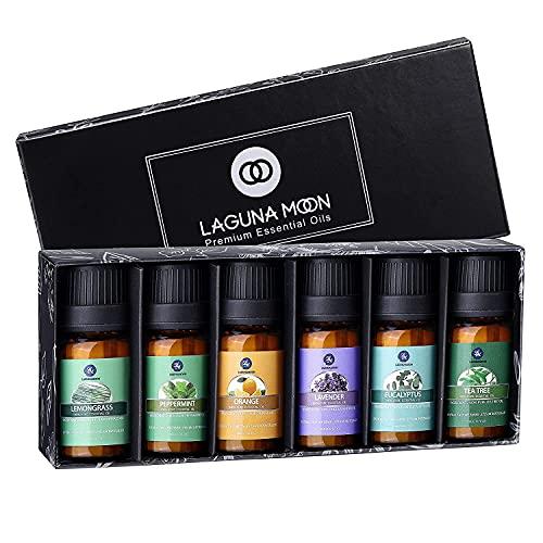 Lagunamoon Ätherische Öle Set, Duftöl Set für diffuser, Essential Oils für Aroma Luftbefeuchter Aromatherapie, Kerzen selber machen, Orange Lavendel Teebaum Pfefferminz Eukalyptus Zitronengras