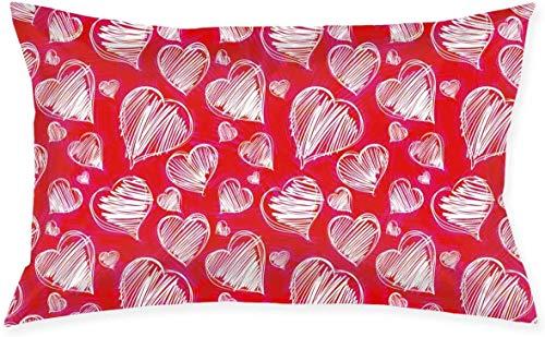Just life Funda de cojín Decorativa pequeña Lumbar de corazón Rojo Funda de Almohada Decorativa Serie Living Funda de Almohada Decorativa Diseño de Doble Cara 29.9'X 19.6'