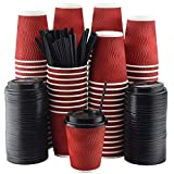 NYHI Set of 100 Red Disposable Paper Cups with Black Lids and Straws (10-oz) | Ripple Insulated Kraft for Hot Drinks - Tea & Coffee | Triple Layer Design | Eco- Friendly, Recyclable, Durable Paper