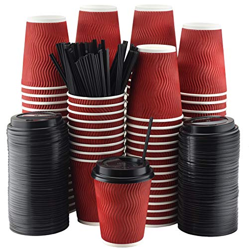 NYHI Set of 100 Red Disposable Paper Cups with Black Lids and Straws (12-oz) | Ripple Insulated Kraft for Hot Drinks - Tea & Coffee | Triple Layer Design | Eco- Friendly, Recyclable, Durable Paper