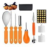 Kit di Zucca di Halloween,9 Pezzi Robusto Strumento di Acciaio Inossidabile con Professionale Kit di Stencil di Zucca per,Kit di Intaglio di Zucca di Halloween(Arancione)
