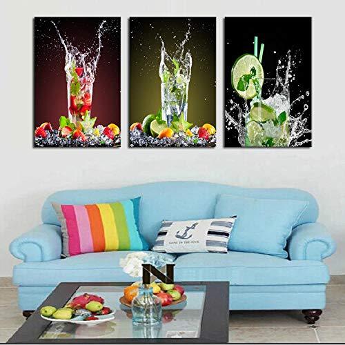 Sap foto canvas schilderij decoratie melk thee winkel citroen glas drank kunst foto huisdecoratie 40x60cmx3 (frameloze)