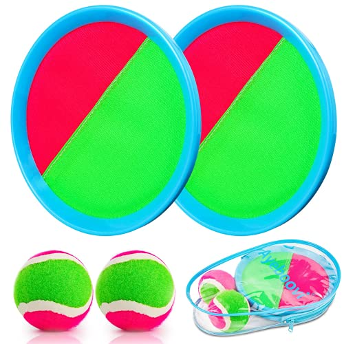 Weokeey Klettballspiel für Kinder, Klettball Set mit 2 Paddles und 2 Bällen Wasserdicht Klettball Spiel Klettspiel wurf Spiel für Hinterhof, Garten, Innen und Außen