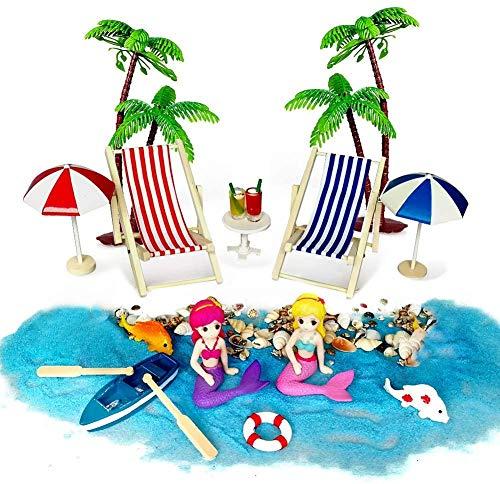 Aibesser Strand Mikrolandschaft Strandspielzeug Innen-, 18 Stück Strandkorb Sonnenschirm Kleine Palme Deko Accessoires, Einzigartiges Geschenk Set für Ihre Jungen und Mädchen Mini-Zubehör