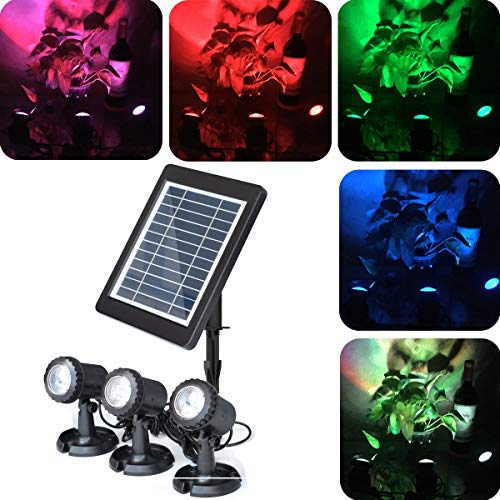 COODIA Solar Powered Underwater Night Light 3 Submersible RGB Lamps Color Changing Landscape Spotlight