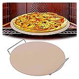 JULAN Pizza Stein Hochtemperatur-Pizza-Tablett mit Drahtständer mit Griff Große Pizza-Backstein geeignet for das Herstellen von Pizza-Brot-Keksen 33cm LjuL