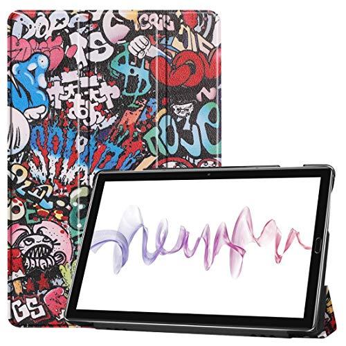 JIAOCHE Patrón de Piel de Vaca Textura Pintada de Color Dibujo Horizontal Flip Funda de Cuero for Huawei MediaPad M6 10,8, con el Titular