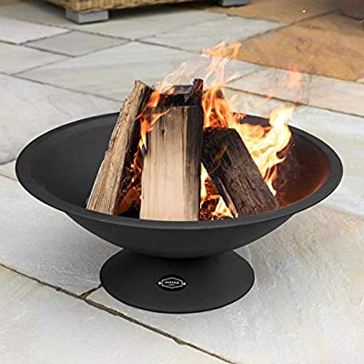 Harrier Steel Outdoor Fire Pits - Fire Pits For Garden | Powder Coated Black Fire Bowl | Modern & Minimalistic Fire Pits | Wood/Charcoal | Outdoor Heater by Net World Sports