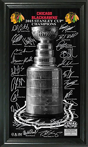"The Highland Mint NHL Chicago Blackhawks 2015 Stanley Cup Champions Trophy Signature Photo, 22"" x 15"" x 4"", Black"
