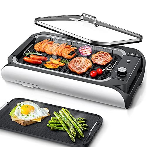 Parrilla eléctrica, 1200 W, parrilla de mesa sin hueso, para barbacoa de interior, 2 placas que pueden hacer carne, panini, verduras, bandeja extraíble y fácil de limpiar, color negro