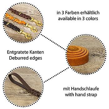 CopcoPet–Laisse en cuir gras avec mousqueton en laiton