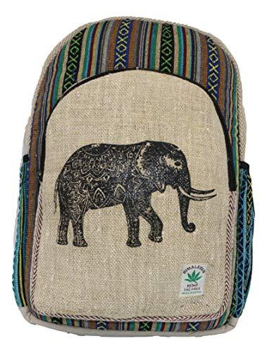 HIMALAYAN Zaino in fibra di canapa/Zaino di canapa/zaino da giorno in canapa/zaino per scuola, viaggi, tempo libero, all'aperto – con scomparto per laptop – modello 150.1 elefante