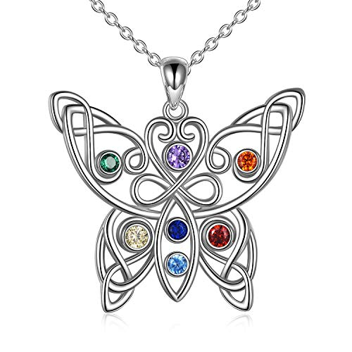 ONEFINITY Butterfly Chakra Necklace Sterling Silver Yoga Celtic Knot Butterfly Necklace Healing 7 Chakra Christmas Jewelry Gifts for Women Mom (Butterfly Chakra Necklace)