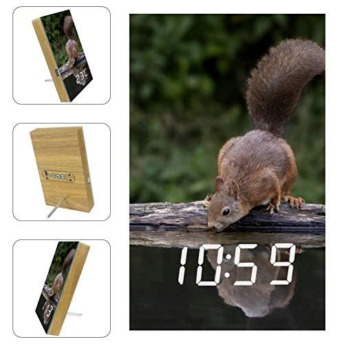 EZIOLY Ein Eichhörnchen-Trink-LED-Digital-Wecker mit Anzeige von Uhrzeit, Temperatur, Datum, USB-betrieben, Sound-Steuerung, Energieeinsparung für Schlafzimmer und Büro