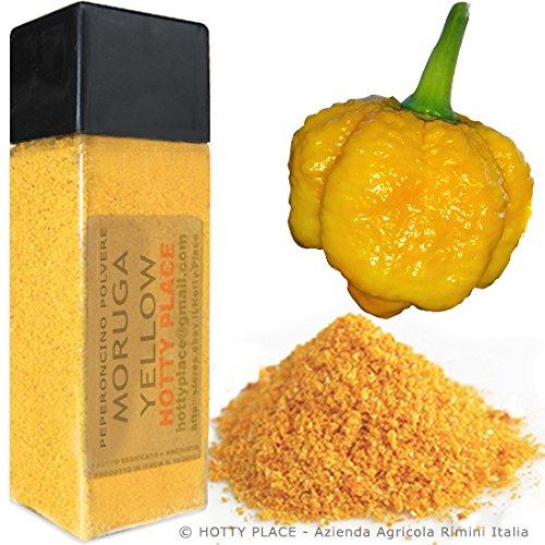 MORUGA ORO ottimo sapore pieno POLVERE Piccante ESTREMO Trinidad Scorpion Peperoncino 10g Flacone