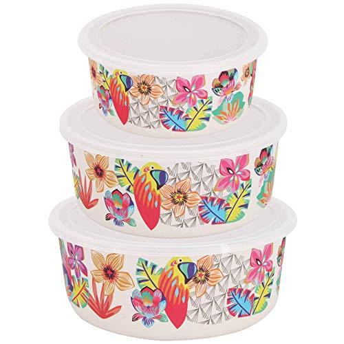 Les Jardins de la Comtesse – Juego de 3 cajas de conservación alimentaria de bambú – Recipiente de almacenamiento para nevera con tapa – Apto para lavavajillas – 3 tamaños – temática loros – Sin BPA