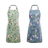 Delantales de Cocina para Mujer, Paquete de 2 Delantales Florales con 2 Bolsillos Grandes, Delantales Vintage para Cocinar, Hornear, Jardinería - Lindos Regalos para Cocinero Panadería Mamá Esposa