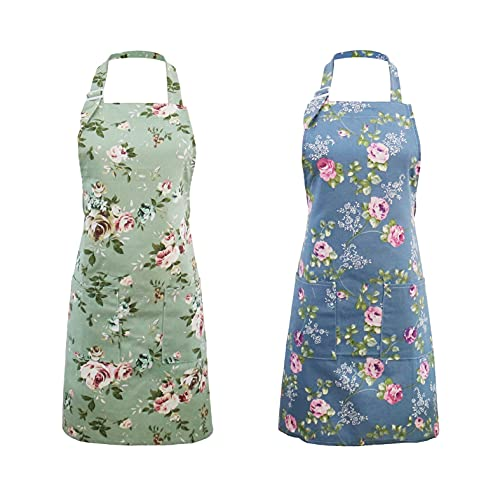IDEAPRON Kitchen Aprons for Women, 2 Pack Floral Aprons with Big Pockets, Vintage Chef Bakers Apron, Perfect for Cooking Baking Gardening - Cute Birthday, Mothers Day Gifts for Mom Wife Grandma
