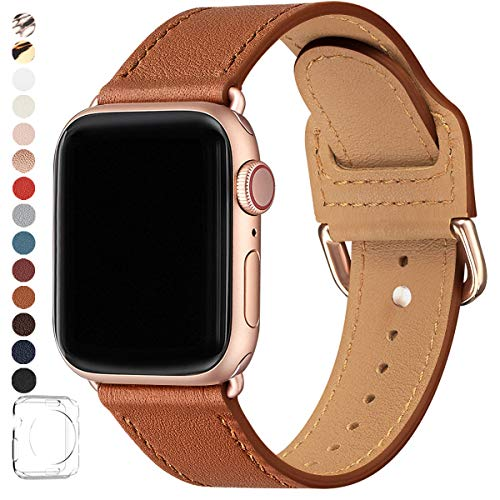 POWER PRIMACY Bands Compatible with Apple Watch Band 38mm 40mm 42mm 44mm, Top Grain Leather Smart Watch Strap Compatible for Men Women iWatch Series 5 4 3 2 1 (Brown/Rosegold, 38mm/40mm)