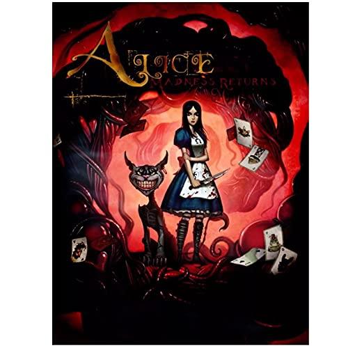 SDGW Alice Madness Returns Impresiones En Lienzo Arte Póster Pared Hotel Bar Cafetería Sala De Estar Decoración del Hogar Regalo-50X70Cm Sin Marco