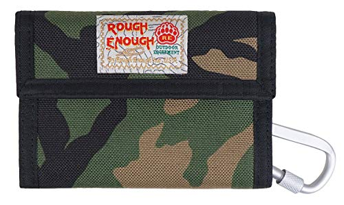 Rough Enough Camo Keychain Wallet for Boys Kids with Credit Card Holder Front Pocket Wallet Coin Purse for Men Teen Change Organizer with Carabiner Clip for Party School Travel Unique Gift Packaging