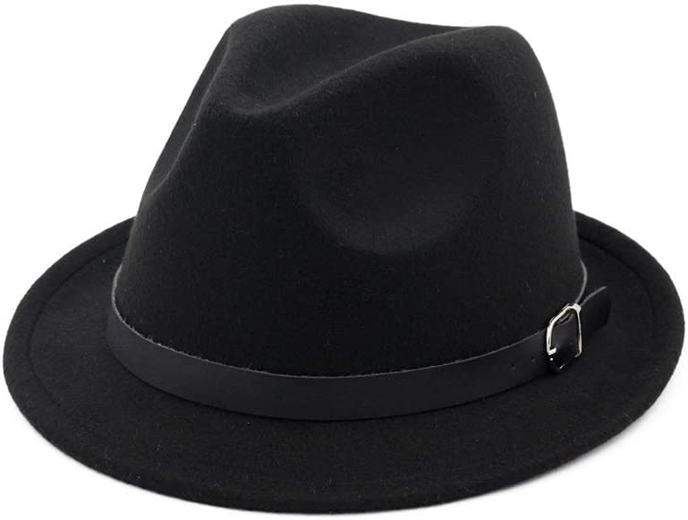 L.W.SUSL 2019 Women Men Fedora Hat with Leather Belt Party Hat for Lady Panama Hat Size 56-58CM (Color : Black, Size : 56-58)