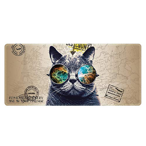 Meffort Inc Extra Large Extended Gaming Desk Mat Non-Slip Rubber Pads Stitched Edges Mouse Pad 35.4 x 15.7 inch - Cool Cat