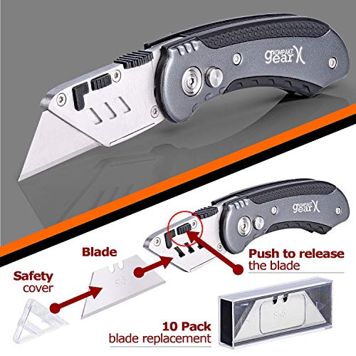 KompaktGear Utility Knife � Box Cutter Knife Heavy Duty Razor Knife Premium Cutter with Holster Lightweight Aluminum Razor Knife Multifunctional Retractable Cutter with Replacement Blades Photo #6