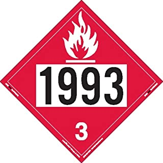Labelmaster ZVR21993 UN 1993 Flammable Liquid Hazmat Placard, Removable Vinyl (Pack of 25)