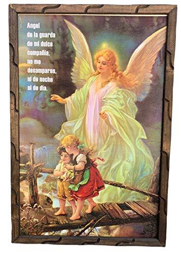 Angel de la Guarda Cuadro Religioso Con Marco De Madera Rustica para Colgar 36''x24''x1'' Nuevo Hecho En Mexico