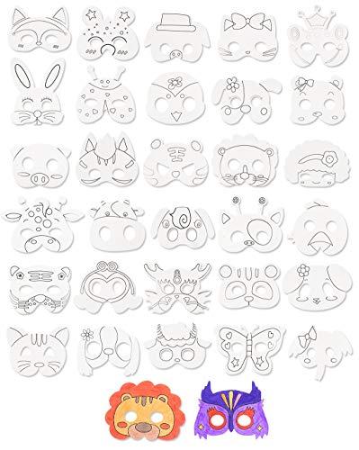 32 Stück Blank Painting Paper Maske zum Ausmalen von Kindern Animal Craft DIY Graffiti Masken für Kinder Party / Cosplay / Kinder Handmalerei Crafts Geburtstag Gefälligkeiten Zirkus