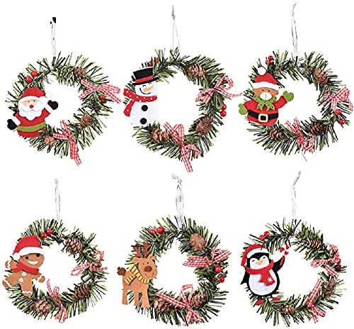 6 Pcs Max 49% OFF Christmas Pine Wreaths Mini Snowman Santa Deer shopping Wreat Xmas