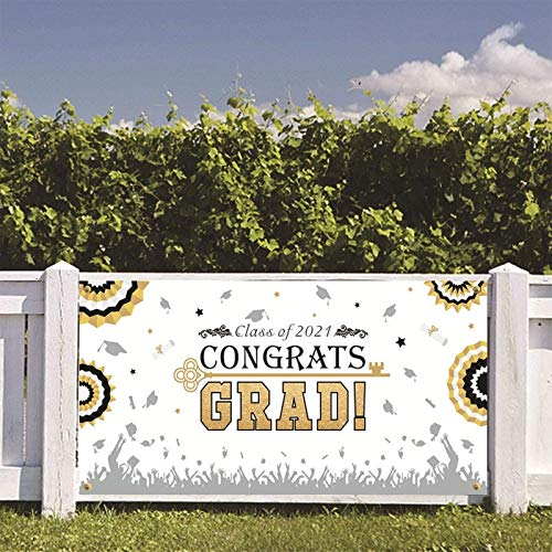 Graduation Banner 2021 Backdrop Home Decoration Congrats Grad Class of 2021 Yard Sign Flag Pary Supplies Graduation Gift, Extra Large 71'' x 35'' Background Photo Booth Prop Favor for Outdoor Indoor
