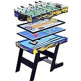 CARACHOME Mesa multijuego Plegable 5 en 1, Billar/Bolos y Ping Pong/futbolín/tejo para Adultos y niños, Juegos de Oficina en casa