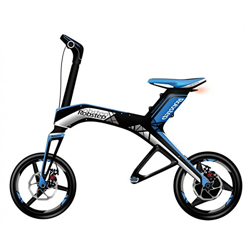Robstep X1 Electric Bike Folding Scooter Ebike, Portable, Lightweight, Quick Charge Battery, Bluetooth Speakers (Blue)