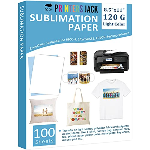 Printers Jack Sublimation Paper - 8.5 x 11 Inches, 100 Sheets for Any Epson Sawgrass Inkjet Printer with Sublimation Ink, Heat Transfer Sublimation Paper for T-shirt, Mugs, Light Fabric 120gsm