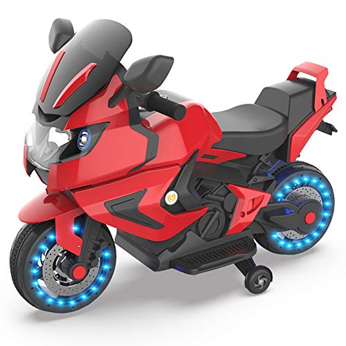 HOVER HEART Kids Electric Power Motorcycle 6V Ride On Bike (Hot Red)