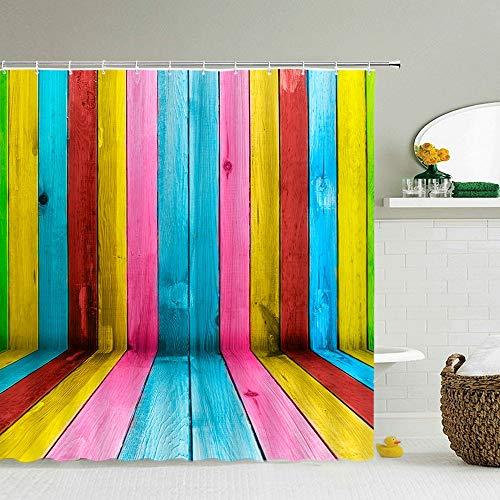 XCBN Cabina de Ducha de Tela Impermeable 3D patrón geométrico de Rayas de Colores con Gancho decoración de baño A2 90x180cm