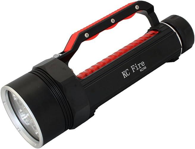 KC Fire 6000lumens XM-L2professionnel plongée lampe de poche, lumineux LED professionnel plongée étanche lumières lampe torche pour l'extérieur sous l'eau Sports