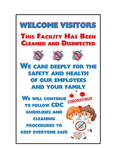 Social Distance Sign - Pack of 5 - Welcome Visitors Wall Sign Posters - Poster for Public Safety (Laminated, 11'x 17')