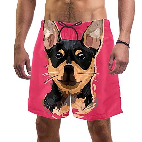 Pantalones Cortos de Playa para Hombre Traje de baño de Surf L,Perro Chihuahua de Dibujos Animados Doodle