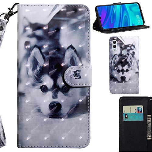 DodoBuy 3D Hülle für Huawei Y7 2019, Flip PU Leder Schutzhülle Handy Tasche Brieftasche Wallet Case Cover Ständer mit Kartenfächer Trageschlaufe Magnetverschluss - H&