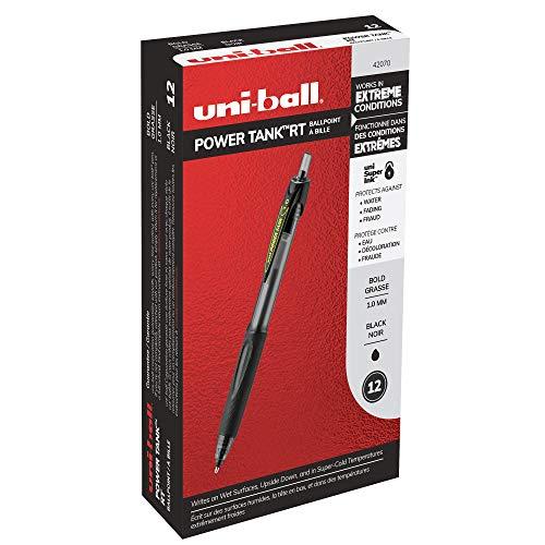 uni-ball PowerTank Druckkugelschreiber, breite Spitze (1,0 mm), schwarzer Schaft, schwarze Tinte, 12 Stück